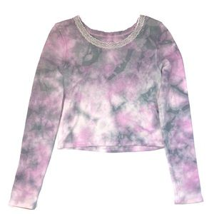 AE lace crewneck long sleeve watercolor top